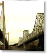 The Two Carquinez Bridges At Crockett And Vallejo California . Aka Alfred Zampa Memorial Bridge . 7d8830 Metal Print by Wingsdomain Art and Photography