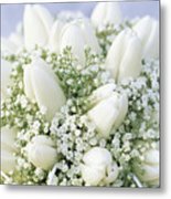 Tulip Tulipa Sp And Babys Breath Metal Print