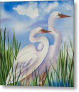 Twin Egrets Metal Print