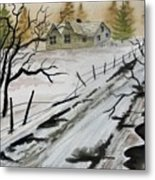 Winter Farmhouse Metal Print