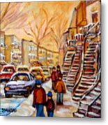 Winter Walk In Montreal Metal Print