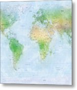 World Map Watercolor Metal Print by Michael Tompsett