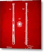 1885 Baseball Bat Patent Artwork - Red Metal Print