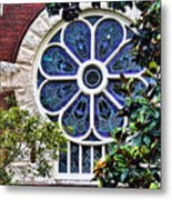 1901 Antique Uab Gothic Stained Glass Window Metal Print
