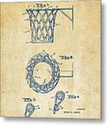 1951 Basketball Net Patent Artwork - Vintage Metal Print by Nikki Marie Smith