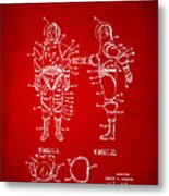 1968 Hard Space Suit Patent Artwork - Red Metal Print