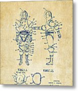 1968 Hard Space Suit Patent Artwork - Vintage Metal Print