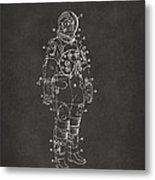 1973 Astronaut Space Suit Patent Artwork - Gray Metal Print