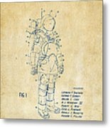 1973 Space Suit Patent Inventors Artwork - Vintage Metal Print by Nikki Marie Smith