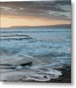 Beautiful Dramatic Sunset Over A Rocky Coast Metal Print