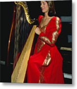 Beautiful Harp Player Metal Print