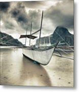Boat At Sunset Metal Print