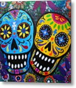 Couple Day Of The Dead Metal Print by Pristine Cartera Turkus