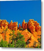Rock Formations In Red Canyon Park In Utah. Metal Print