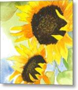 2 Sunflowers Metal Print