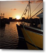 Sunset Over Sutton Harbour Plymouth Metal Print