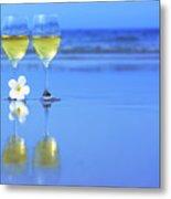 Two Glasses Of White Wine Metal Print by MotHaiBaPhoto Prints