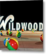 Wildwood's Sign At Night On The Boardwalk  Metal Print