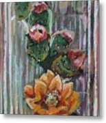 Yellow Cactus Blossom Metal Print