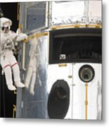 Astronauts Working On The Hubble Space Metal Print