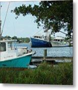 3 Shrimp Boat At Billys Metal Print