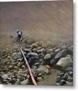 Umbrella On The Rocks Metal Print