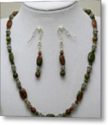 3525 Unakite Necklace And Earring Set Metal Print