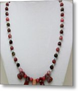 3541 Rhodonite And Jasper Necklace Metal Print