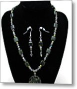 3576 Kambaba And Green Lace Jasper Necklace And Earrings Metal Print