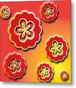 3d Digital Flowers Metal Print