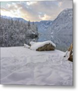 Alpine Winter Reflections Metal Print