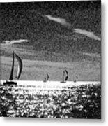 4 Boats On The Horizon Bw Metal Print