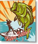 Fly Fisherman On Boat Catching Largemouth Bass Metal Print