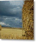 Hay Bales In Harvested Corn Field Metal Print