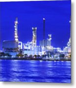Landscape Of River And Oil Refinery Factory  Metal Print by Anek Suwannaphoom
