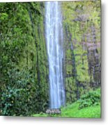 400 Foot Waimoku Falls Maui Metal Print by Pierre Leclerc Photography