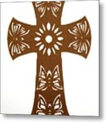 Brown Butterfly-cross Metal Print