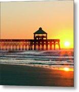 Folly Beach Pier Sunrise Metal Print