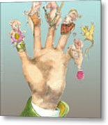 5 Little Pigs -icon Back Card For Mungindi Trading Cards Metal Print by Tom Kerr