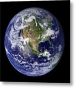 Full Earth Showing North America Metal Print by Stocktrek Images