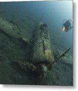 Diver Explores The Wreck Metal Print