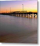 A Biloxi Pier Sunset - Mississippi - Gulf Coast Metal Print