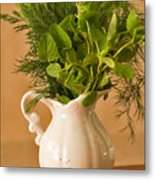 A Bouquet Of Fresh Herbs In A Tiny Jug Metal Print