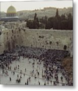 A Crowd Gathers Before The Wailing Wall Metal Print by James L. Stanfield
