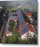A Farm In Bavaria With Solar Metal Print by Michael Melford