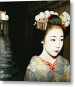 A Geisha In Traditional Costume Walks Metal Print by Paul Chesley