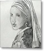 A Girl With A Pearl Earring After Vermeer  Metal Print