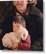 A Kazakh Eagle Hunter And His Son Metal Print