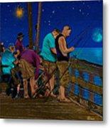 A Little Night Fishing At The Rodanthe Pier 2 Metal Print