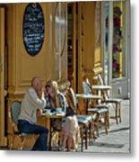 A Man A Woman A French Cafe Metal Print